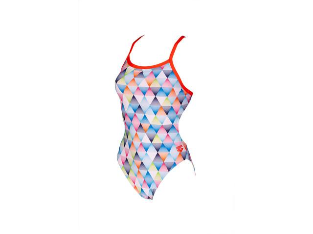 arena Linear Triangle Challenge Back Traje de baño de una pieza Mujer, white multi/nectarine